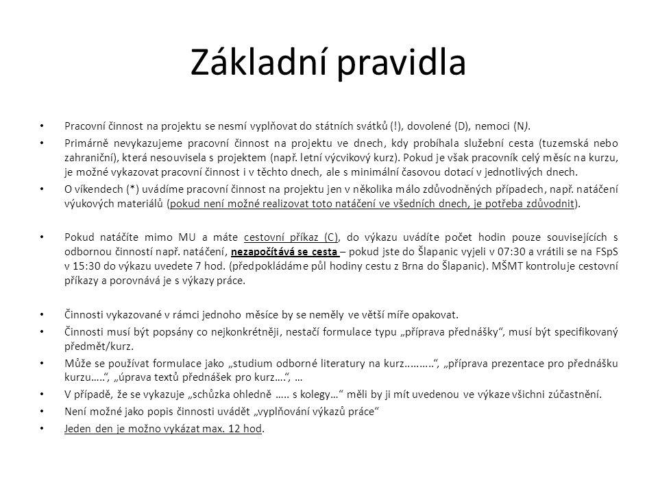 Základní pravidla Pracovní činnost na projektu se nesmí vyplňovat do státních svátků (!), dovolené (D), nemoci (N).