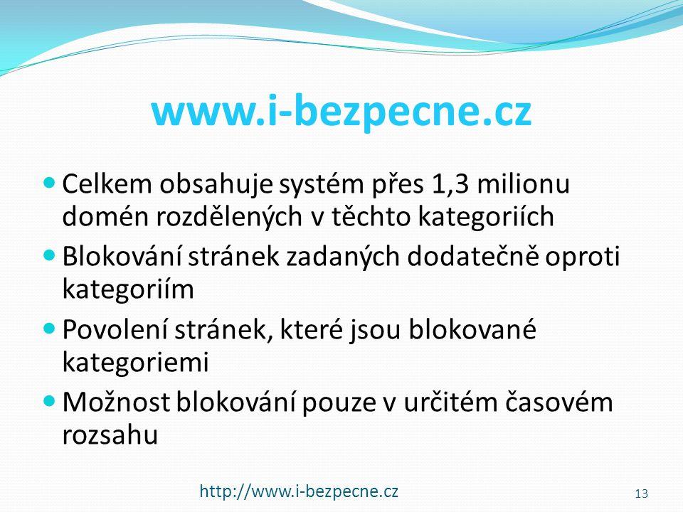 www.i-bezpecne.cz Celkem obsahuje systém přes 1,3 milionu domén rozdělených v těchto kategoriích.