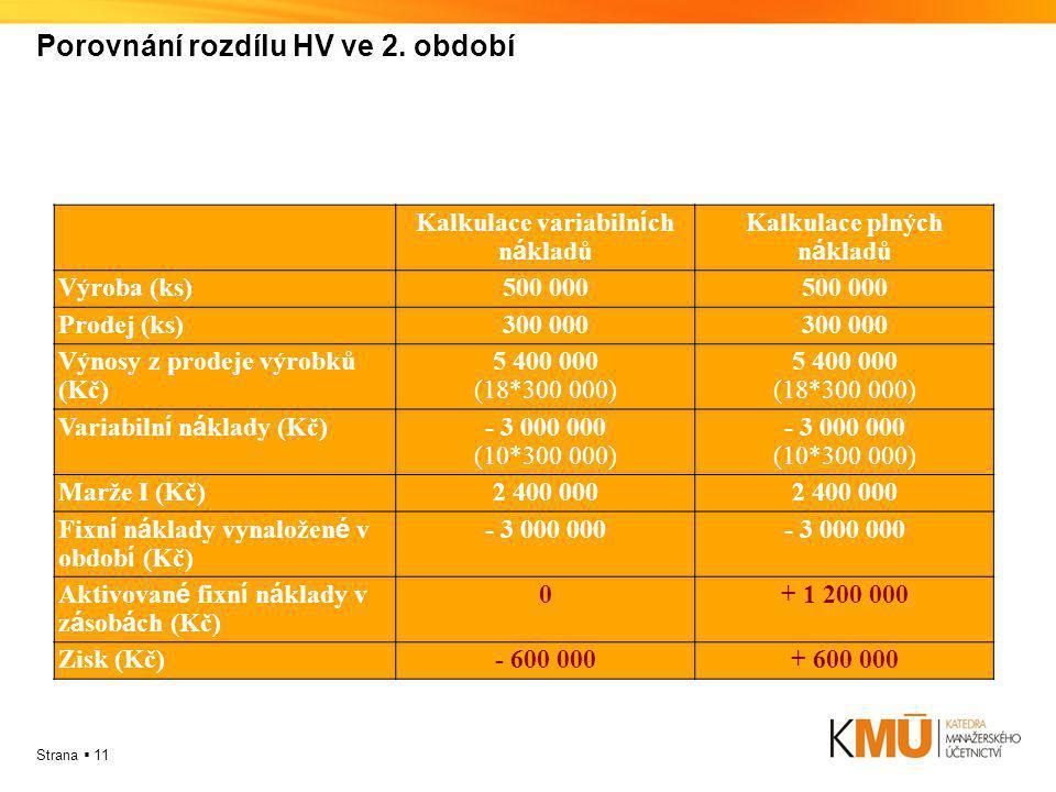 Porovnání rozdílu HV ve 2. období
