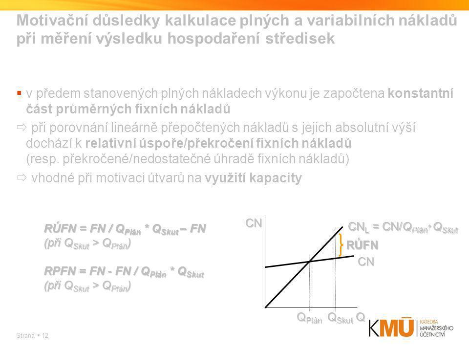 Motivační důsledky kalkulace plných a variabilních nákladů při měření výsledku hospodaření středisek