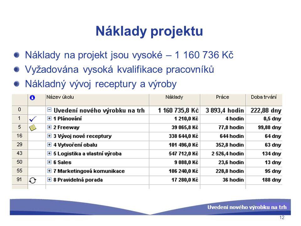 Náklady projektu Náklady na projekt jsou vysoké – 1 160 736 Kč