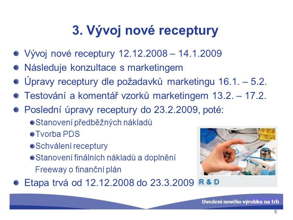 3. Vývoj nové receptury Vývoj nové receptury 12.12.2008 – 14.1.2009