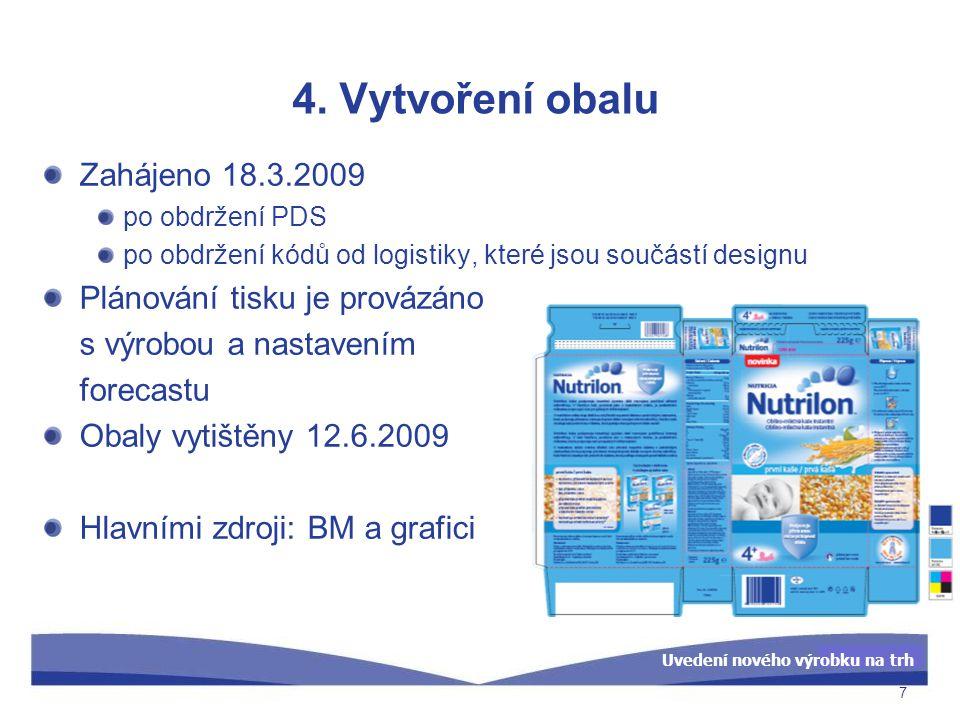 4. Vytvoření obalu Zahájeno 18.3.2009 Plánování tisku je provázáno