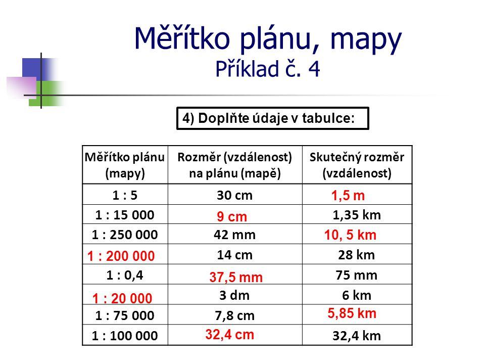 Měřítko plánu, mapy Příklad č. 4