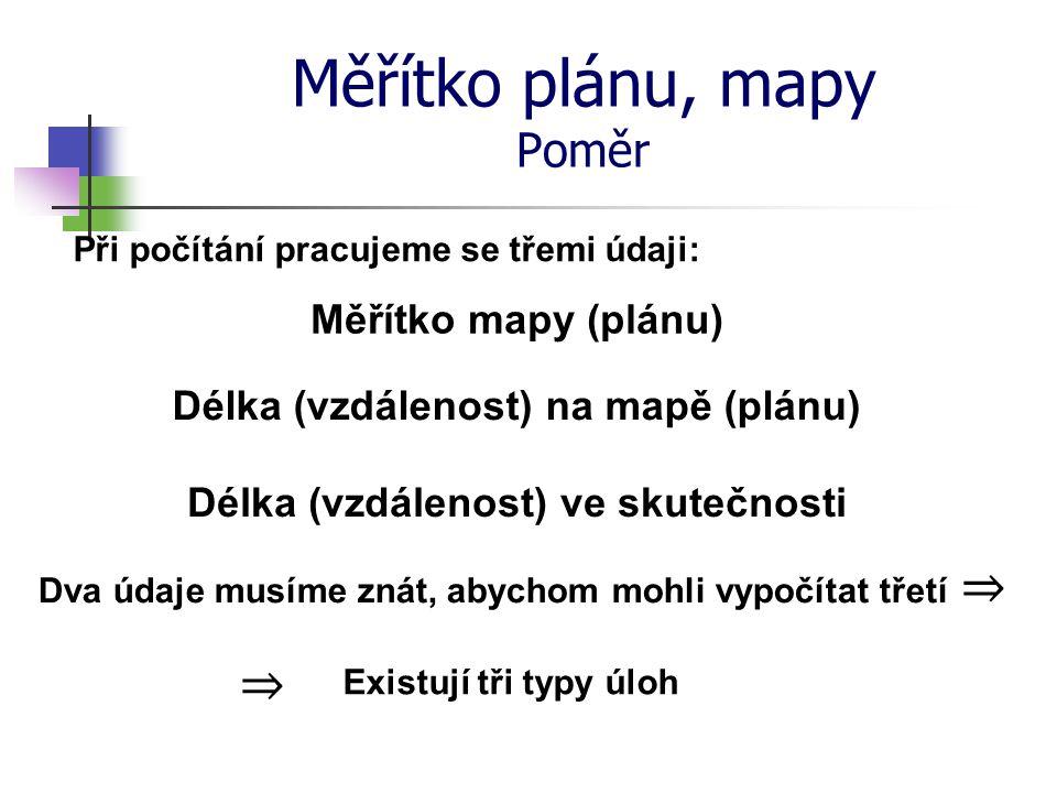 Měřítko plánu, mapy Poměr