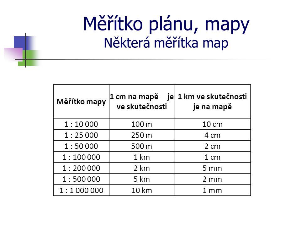 Měřítko plánu, mapy Některá měřítka map