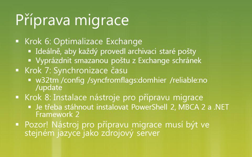 Příprava migrace Krok 6: Optimalizace Exchange