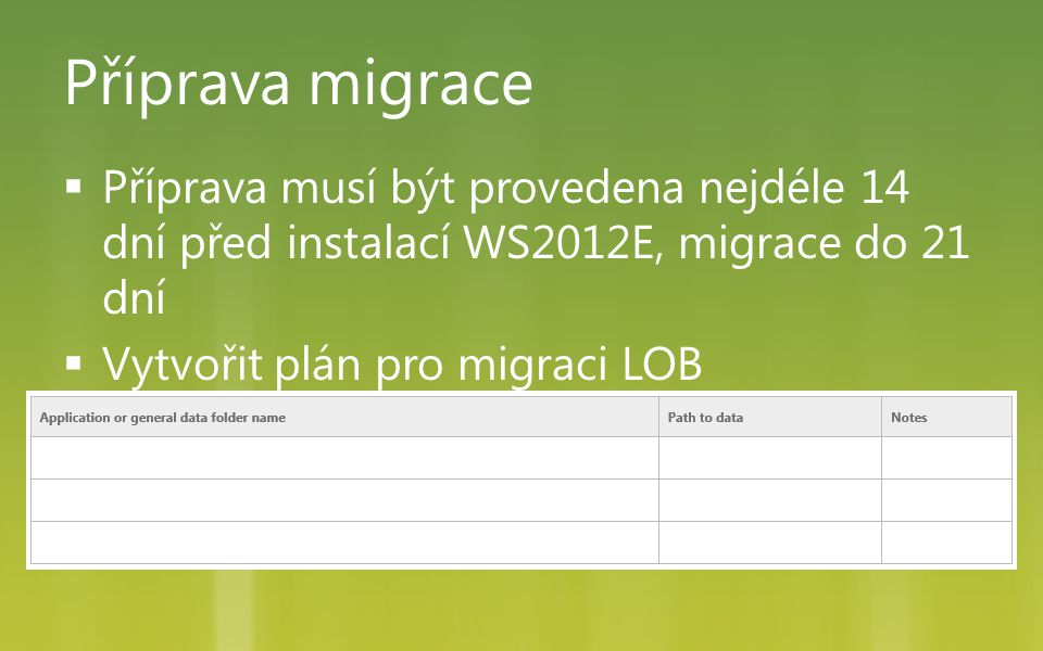 Příprava migrace Příprava musí být provedena nejdéle 14 dní před instalací WS2012E, migrace do 21 dní.
