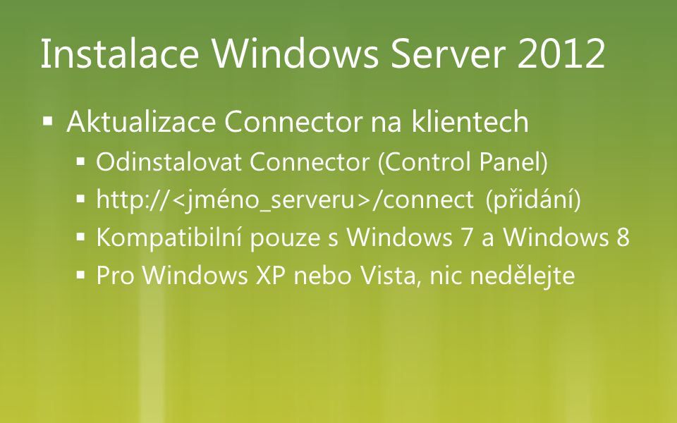 Instalace Windows Server 2012