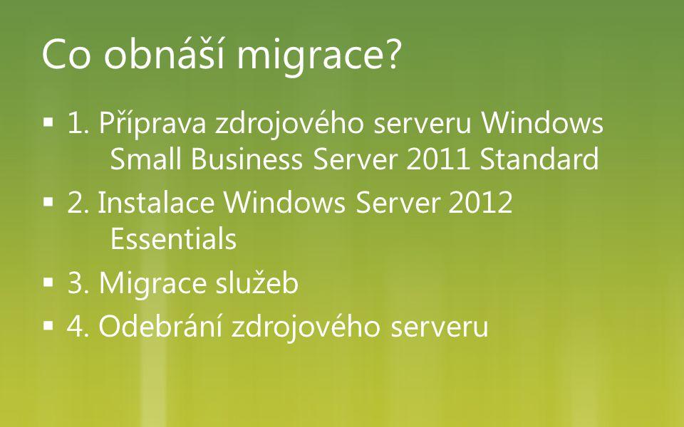 Co obnáší migrace 1. Příprava zdrojového serveru Windows Small Business Server 2011 Standard. 2. Instalace Windows Server 2012 Essentials.