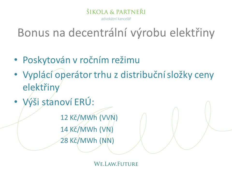 Bonus na decentrální výrobu elektřiny