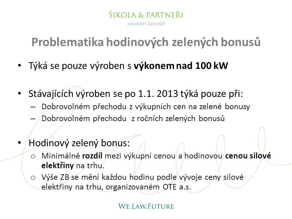 Problematika hodinových zelených bonusů