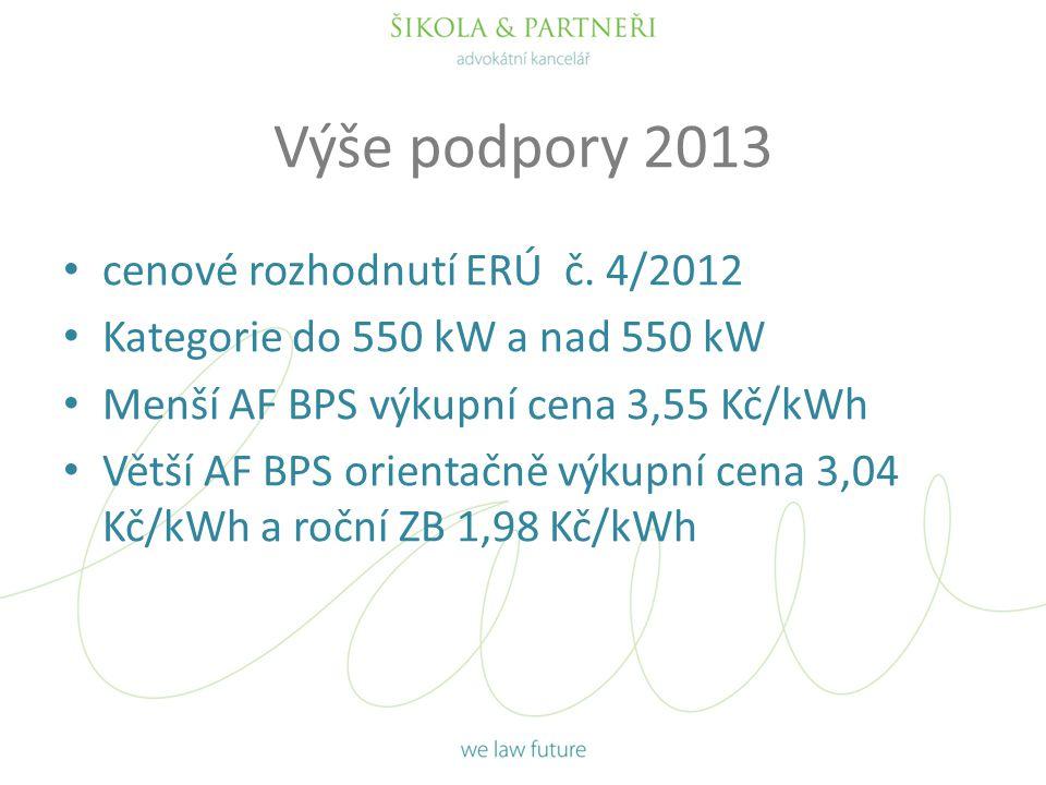Výše podpory 2013 cenové rozhodnutí ERÚ č. 4/2012