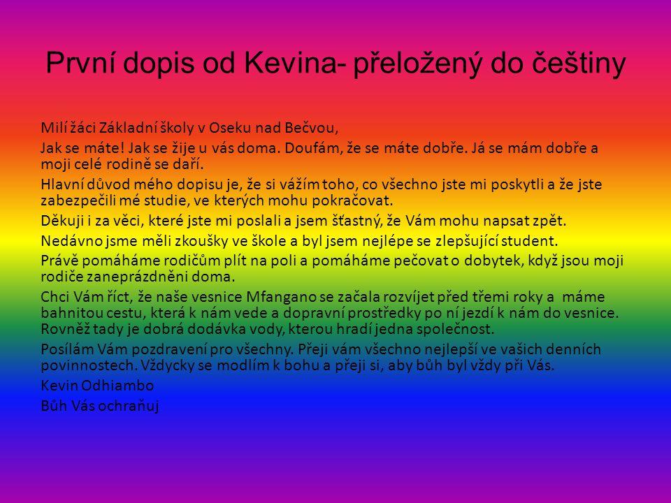První dopis od Kevina- přeložený do češtiny