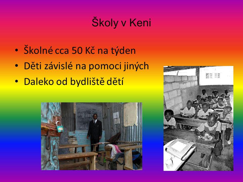 Školy v Keni Školné cca 50 Kč na týden Děti závislé na pomoci jiných Daleko od bydliště dětí