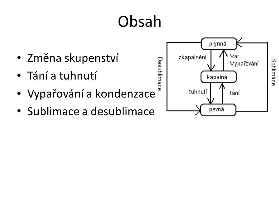 Obsah Změna skupenství Tání a tuhnutí Vypařování a kondenzace