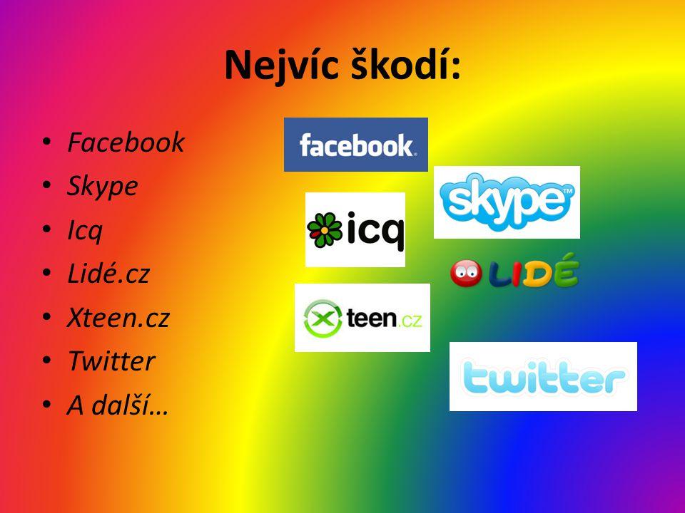 Nejvíc škodí: Facebook Skype Icq Lidé.cz Xteen.cz Twitter A další…