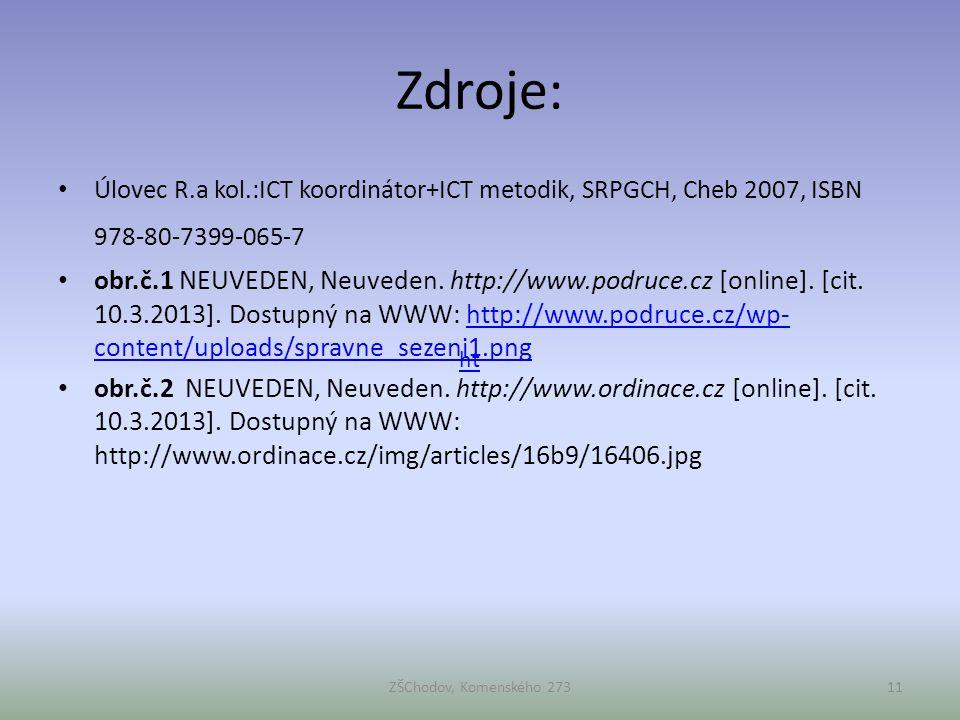 Zdroje: Úlovec R.a kol.:ICT koordinátor+ICT metodik, SRPGCH, Cheb 2007, ISBN 978-80-7399-065-7