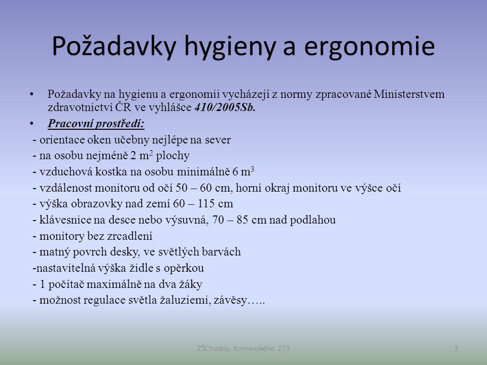 Požadavky hygieny a ergonomie