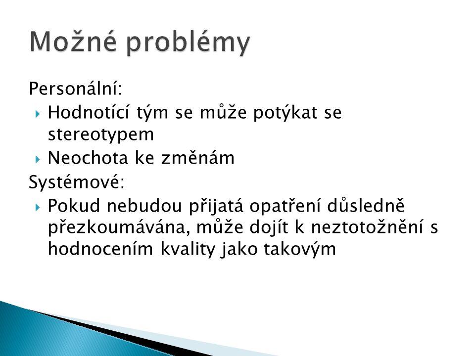 Možné problémy Personální: