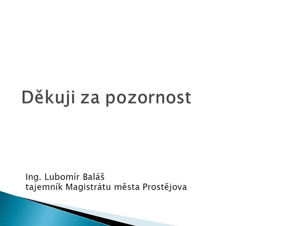 Děkuji za pozornost Ing. Lubomír Baláš tajemník Magistrátu města Prostějova
