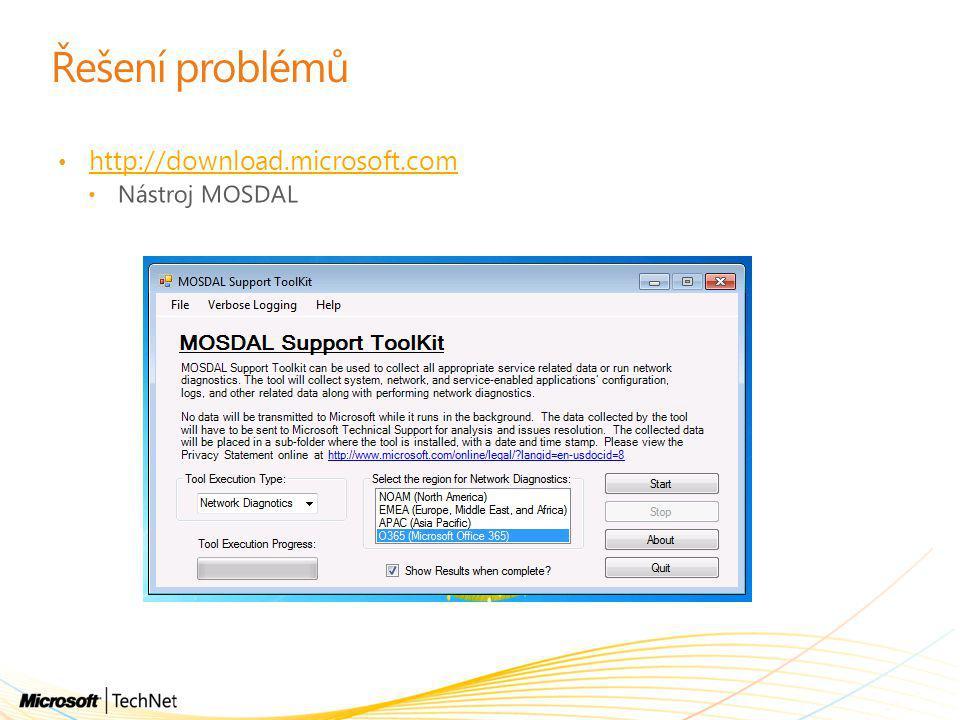Řešení problémů http://download.microsoft.com Nástroj MOSDAL