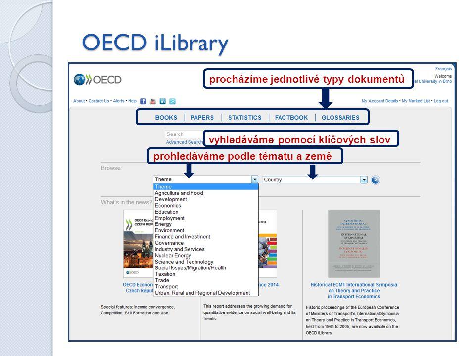 OECD iLibrary procházíme jednotlivé typy dokumentů