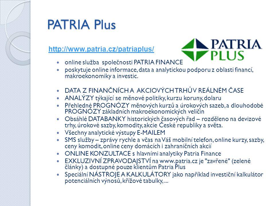 PATRIA Plus http://www.patria.cz/patriaplus/