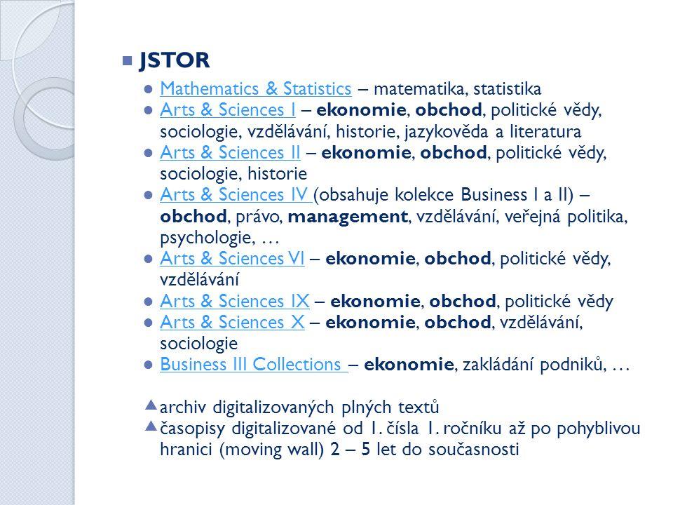 JSTOR Mathematics & Statistics – matematika, statistika