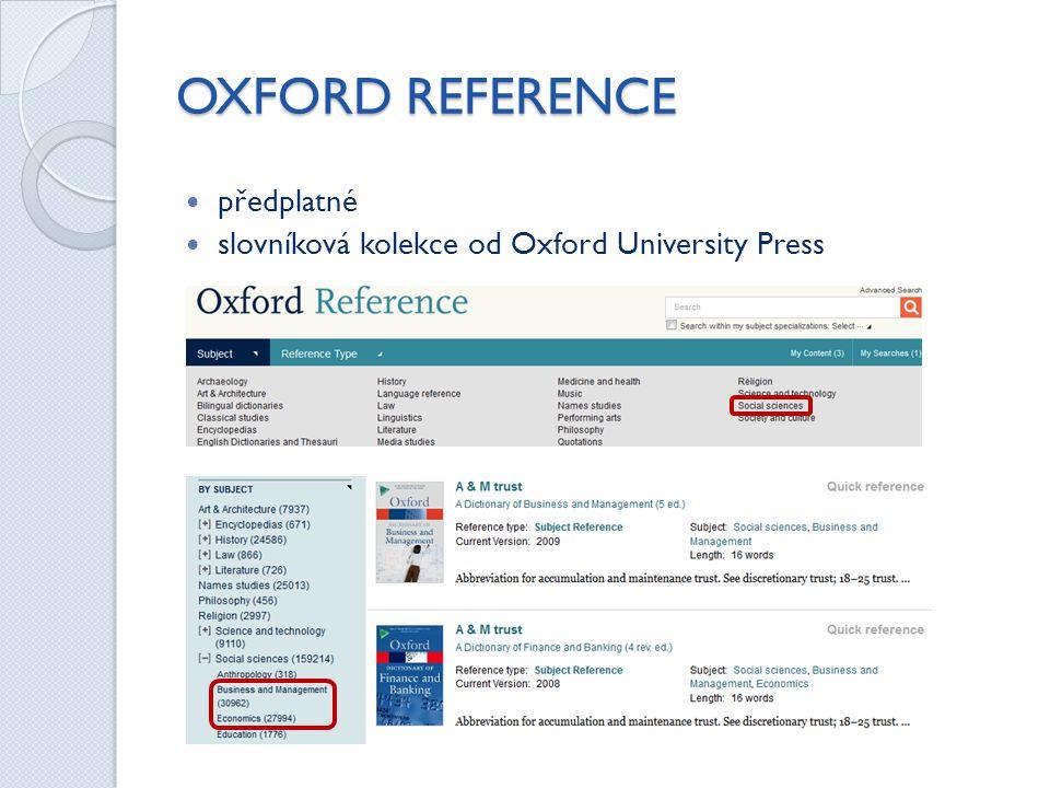 OXFORD REFERENCE předplatné