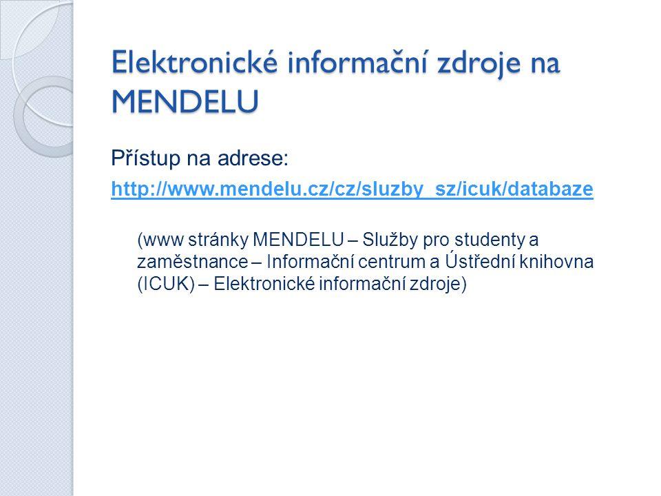 Elektronické informační zdroje na MENDELU