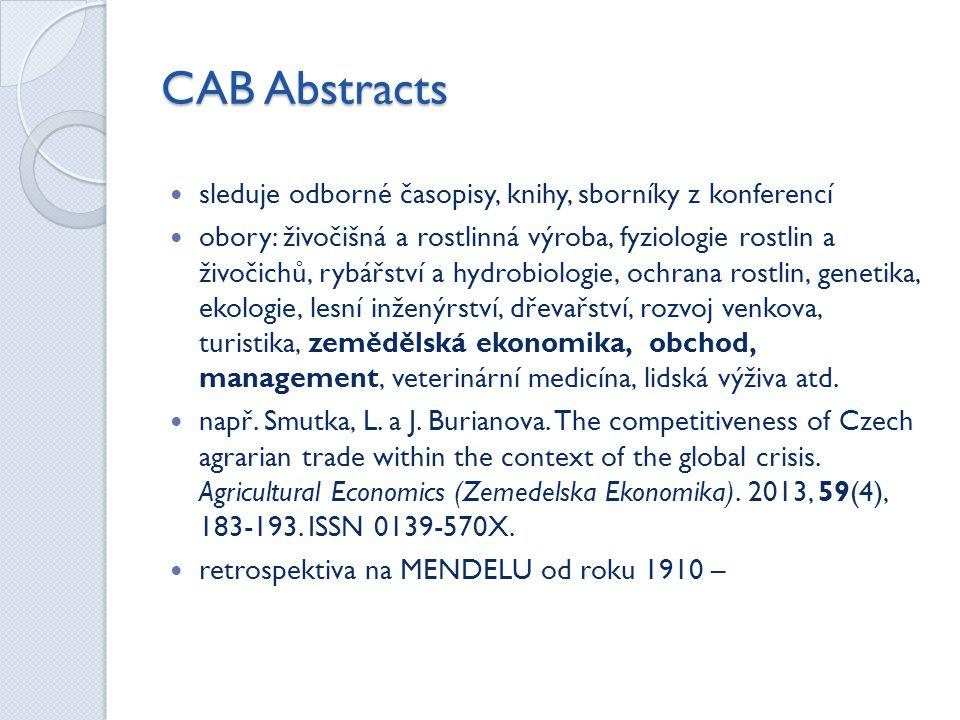 CAB Abstracts sleduje odborné časopisy, knihy, sborníky z konferencí
