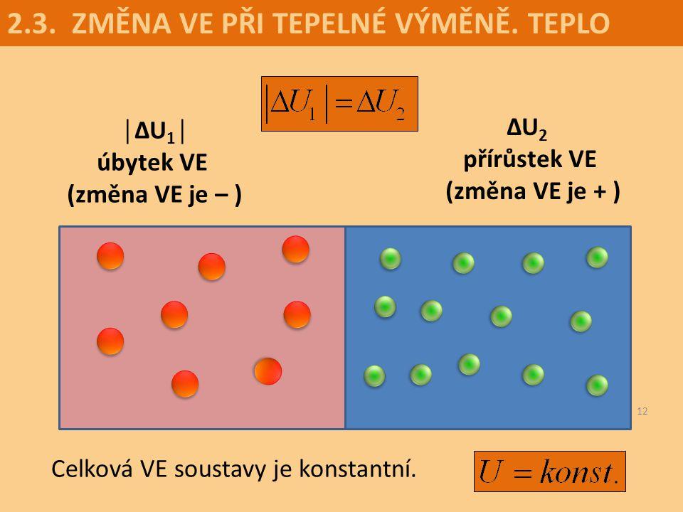 ∆U2 přírůstek VE (změna VE je + )