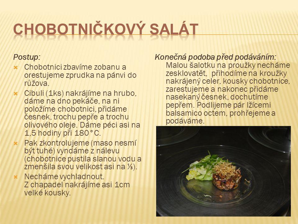 Chobotničkový salát Postup: