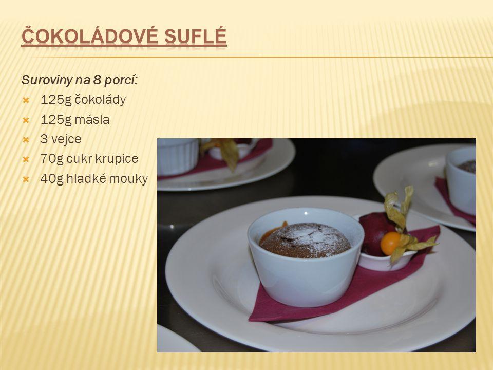 Čokoládové suflé Suroviny na 8 porcí: 125g čokolády 125g másla 3 vejce