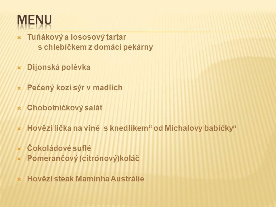Menu Tuňákový a lososový tartar s chlebíčkem z domácí pekárny