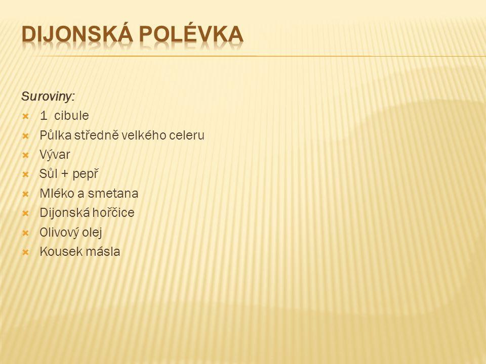 Dijonská polévka Suroviny: 1 cibule Půlka středně velkého celeru Vývar
