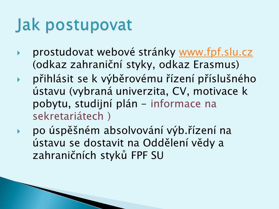 Jak postupovat prostudovat webové stránky www.fpf.slu.cz (odkaz zahraniční styky, odkaz Erasmus)