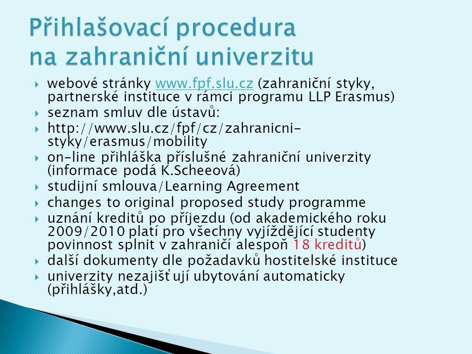 Přihlašovací procedura na zahraniční univerzitu