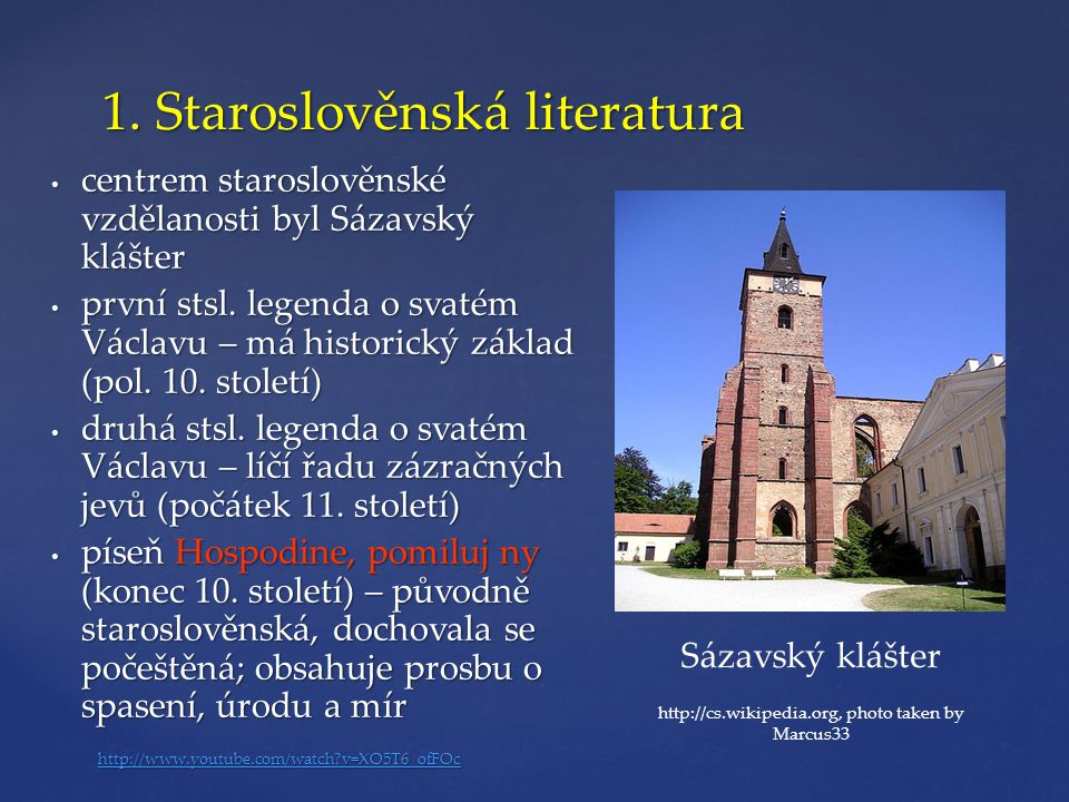 1. Staroslověnská literatura
