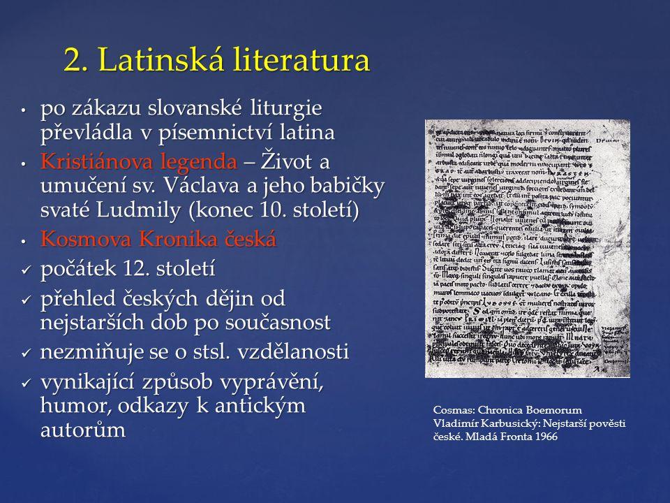 2. Latinská literatura po zákazu slovanské liturgie převládla v písemnictví latina.