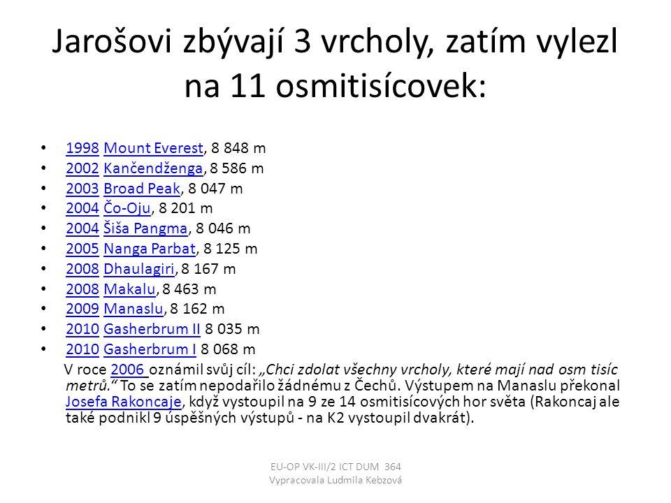 Jarošovi zbývají 3 vrcholy, zatím vylezl na 11 osmitisícovek: