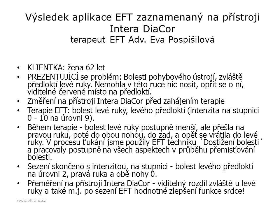 Výsledek aplikace EFT zaznamenaný na přístroji Intera DiaCor terapeut EFT Adv. Eva Pospíšilová
