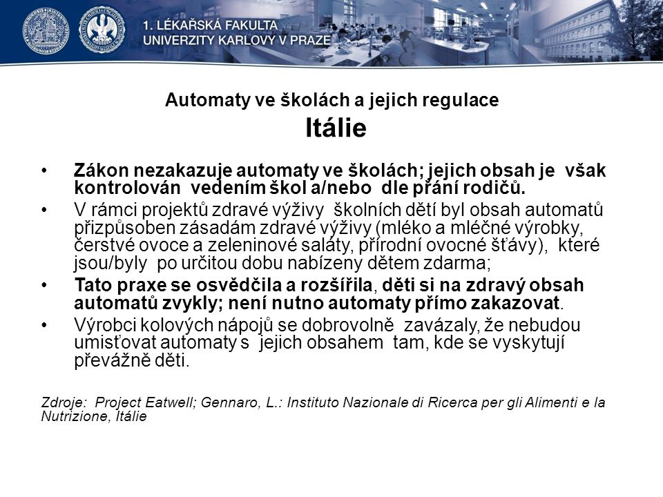 Automaty ve školách a jejich regulace Itálie