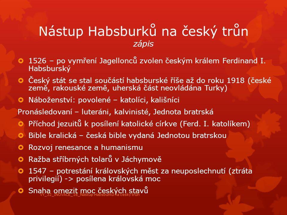Nástup Habsburků na český trůn zápis