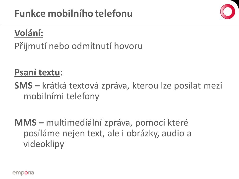 Funkce mobilního telefonu
