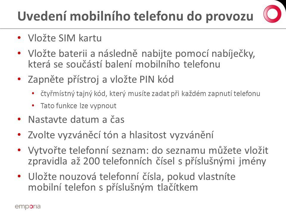 Uvedení mobilního telefonu do provozu