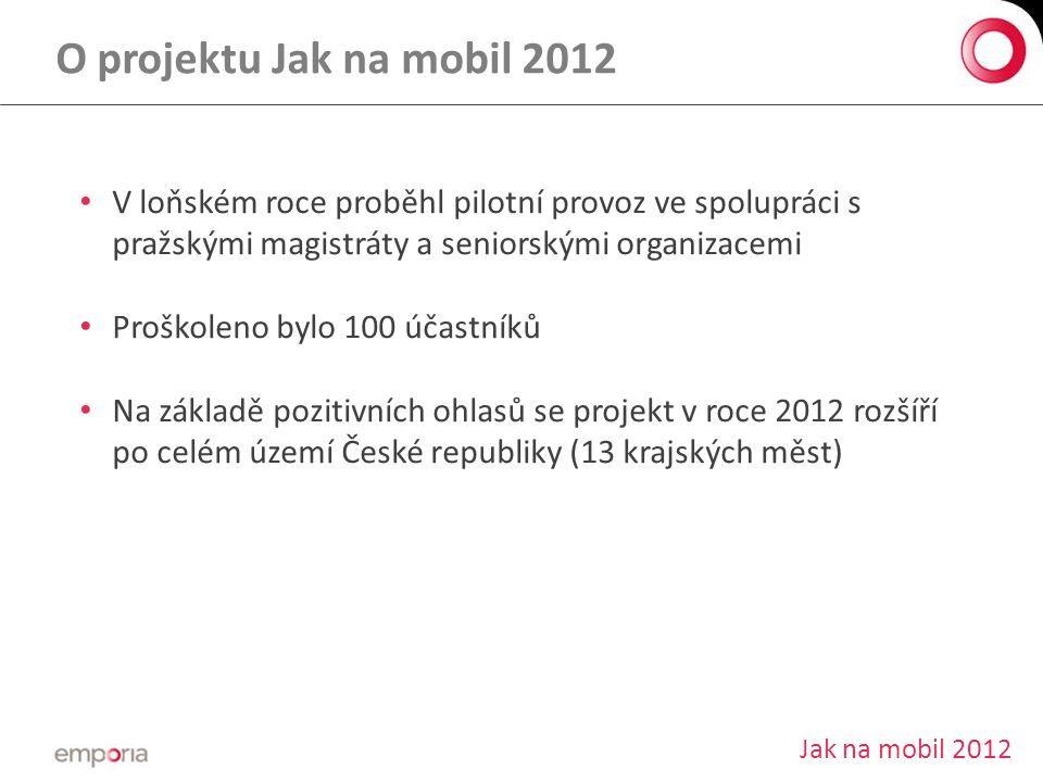 O projektu Jak na mobil 2012 V loňském roce proběhl pilotní provoz ve spolupráci s pražskými magistráty a seniorskými organizacemi.