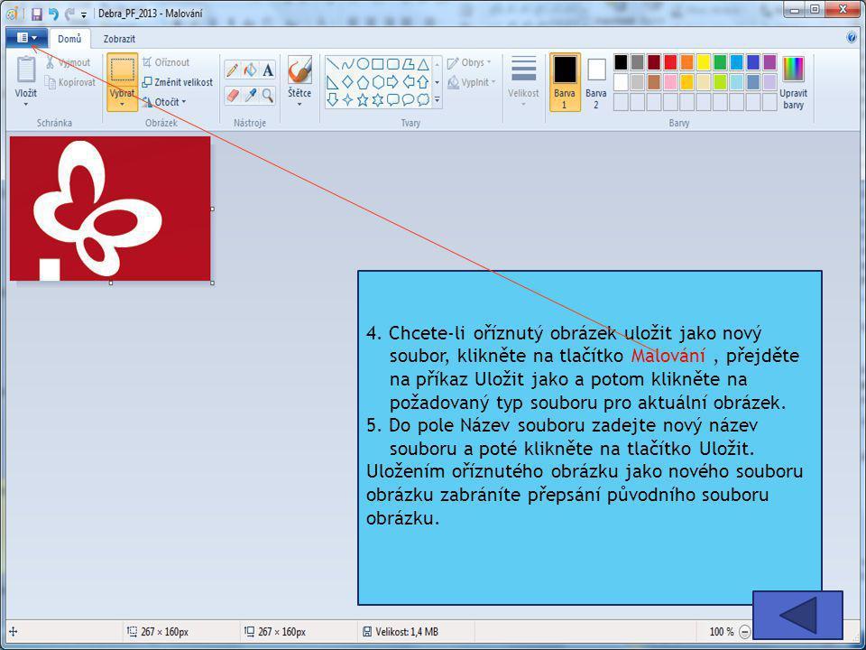 4. Chcete-li oříznutý obrázek uložit jako nový soubor, klikněte na tlačítko Malování , přejděte na příkaz Uložit jako a potom klikněte na požadovaný typ souboru pro aktuální obrázek.