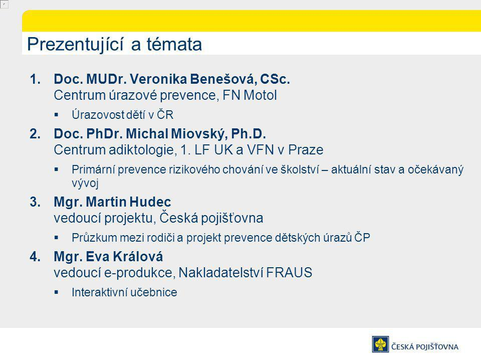 Prezentující a témata Doc. MUDr. Veronika Benešová, CSc. Centrum úrazové prevence, FN Motol. Úrazovost dětí v ČR.